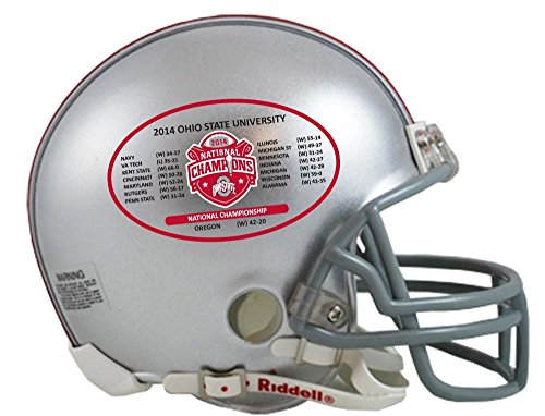 Champs Helmet Mini Riddell (Riddell NCAA Ohio State Buckeyes Mini Replica 2014 National Champ Schedule Helmet, Small, Gray)