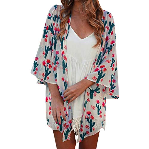 - QIQIU Loose Cactus Print Cardigan Women's 2019 Beach Summer Flare Half Sleeve Sun Protection Tops White