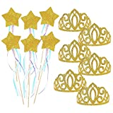 BeYumi Birthday Party Princess Crown and Fairy Wand Set, 6 PCS Glitter Crowns and 6 PCS Magic Wands for Girls, Party Favors, Costume Accessories, Dress Up Fairytale Role Play