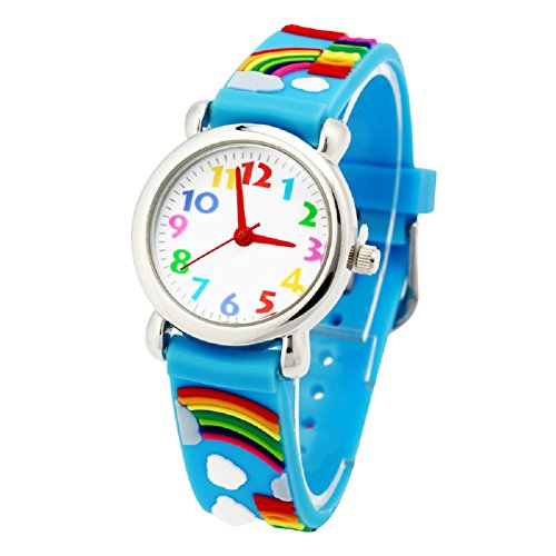 Vinmori Kid's Watch, with 3D Cartoon Rainbow Silicone Band Waterproof Quartz Watch Gift for Children(Blue) (Children Watch Band)
