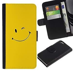 """A-type (Amarillo Smiley Face"""") Colorida Impresión Funda Cuero Monedero Caja Bolsa Cubierta Caja Piel Card Slots Para Apple iPhone 5 / iPhone 5S"""