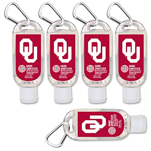 - NCAA Oklahoma Sooners Hand Sanitizer with Clip, 5-Pack. Moisturizers Aloe Vera and Vitamin E. (1.5 oz Containers) NCAA Gifts for Men and Women, Christmas Stocking Stuffers