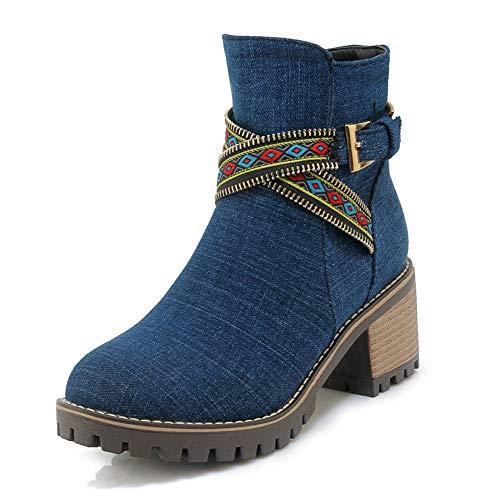 Zapatos Botas Tamaños A 43 Dark Invierno Botines Más Denim Blue Mujer 34 Estrenar Oeste De Cuadrado Hoesczs Tacón Del qtwOd00