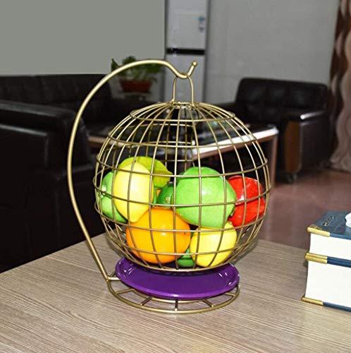 XXJ-Bowls Living Room Fruit Bowl, Creative Fashion Wrought Iron Basket Fruit Basket, Fruit Bowl Drain Storage,Hanging Fruit Basket,Porcelain Plates Dishes Home Kitchen (Color : Champagne)