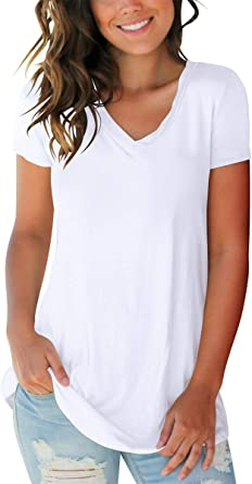 SAMPEEL Womens V Neck T Shirt Summer Tops with Pocket Short Rolled Sleeve Casual Basic Tees