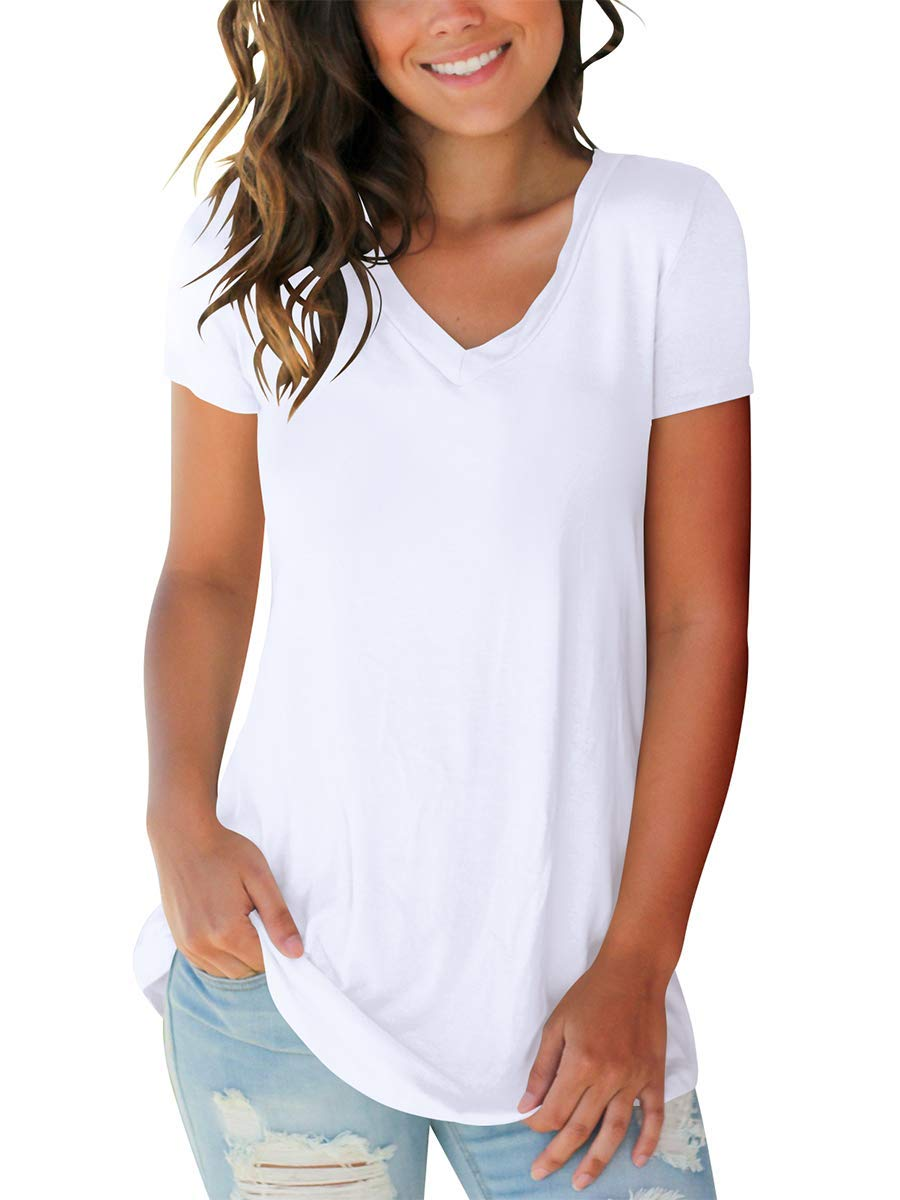 Womens Short Sleeve T-Shirts Basic Summer Comfy Casual Tops White M by SAMPEEL