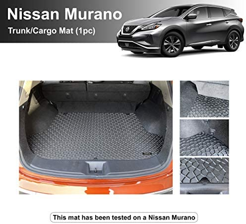 YelloPro Auto Custom fit Heavy Duty Car Trunk/Cargo Floor Mat Accessories for 2015 2016 2017 2018 2019 2020 2021 Nissan Murano – All Weather Anti-Slip Liner Black Rubber [Made in USA]