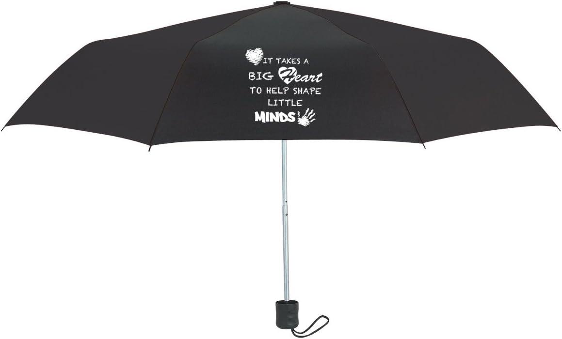 Appreciation Takes A Big Heart to Help Shape Little Minds 42 inch Black Umbrella