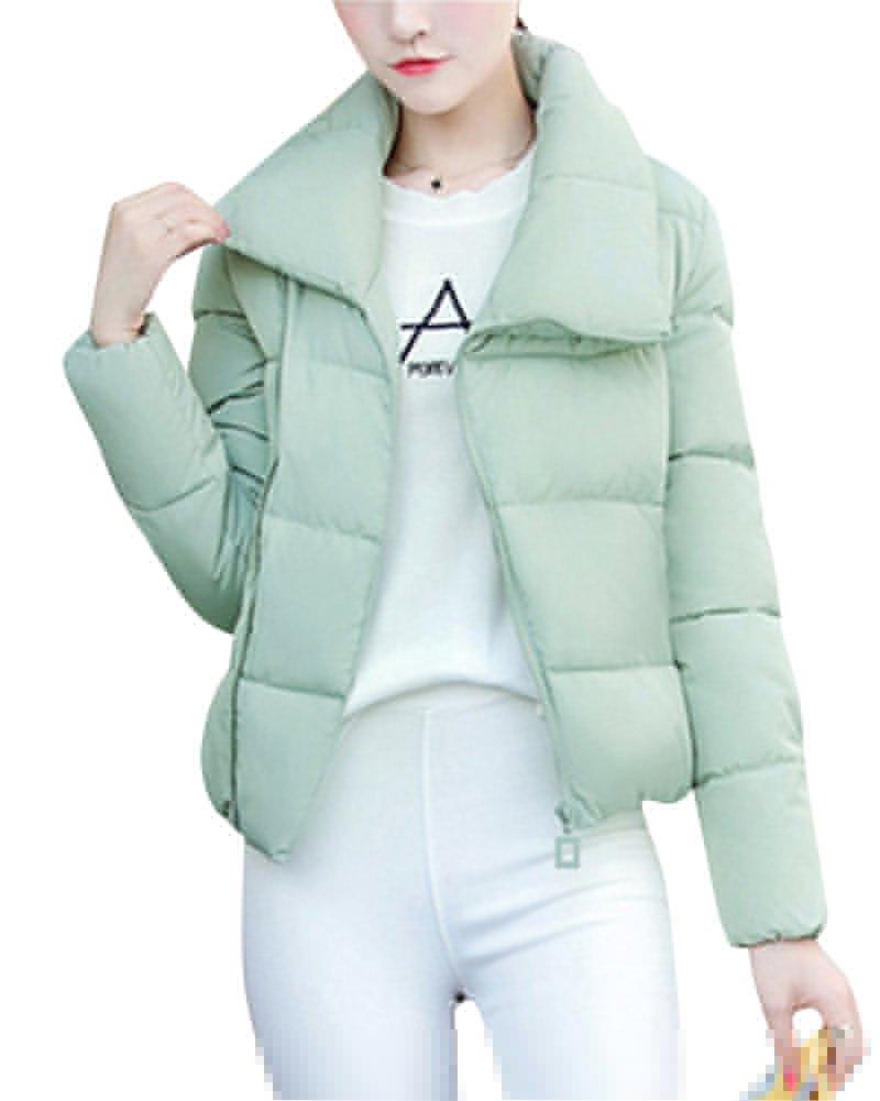 Mujer Corto Color sólido Abajo chaqueta Cremallera frontal oblicua Quilting Chaqueta Pequeño fresco ...