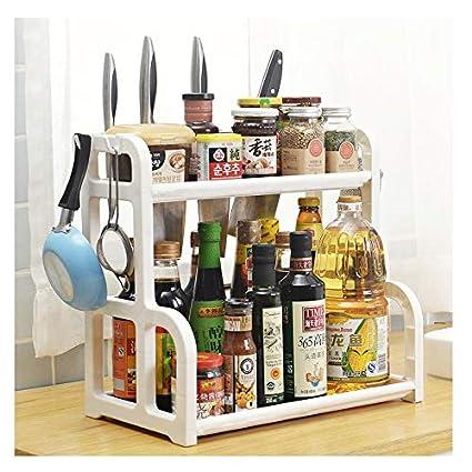 Qisiewell Gewürzregal Weiß Praktischer Gewürzständer für Küchenschrank und  Arbeitsfläche für Ordnung in der Küche Ausziehbarer aus PP Kunststoff auf 2  ...