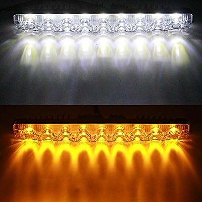 YIJINSHENG Car Universal Fit 9 LED High Power LED Daytime Running Lights DRL Kit Extreme Bright Spot Fog Lamp Turn Lights Xenon White (White and Yellow): Home & Kitchen