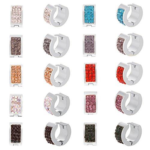 Stainless Steel Mutlicolored Crystal 12mm Huggie Earring 12 Pair Set (How To Make A Halo Costume)