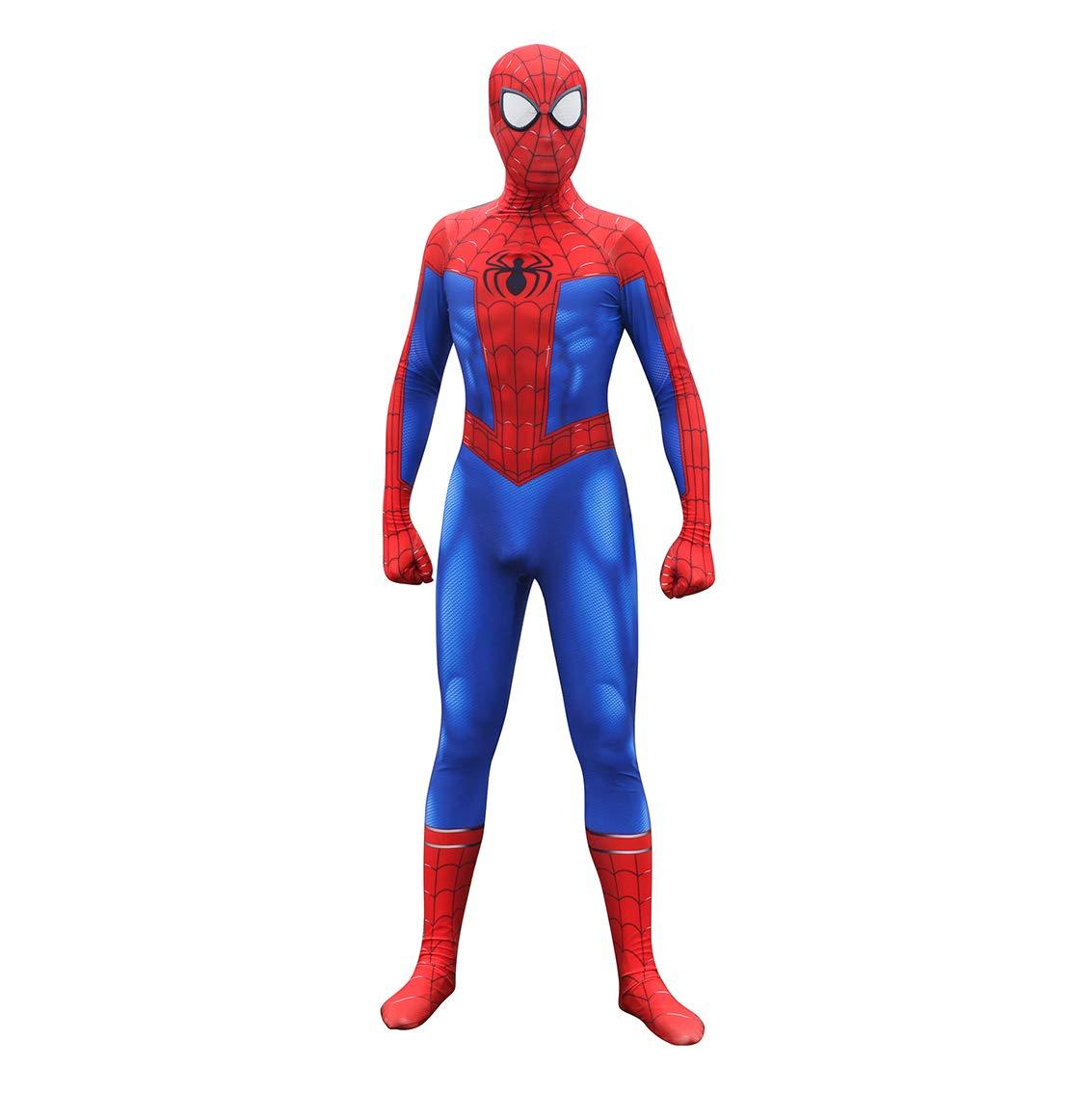 MYanimec Unisex Lycra Spandex Halloween New into The Spider Verse Miles Morales Cosplay Costumes Adult/Kids 3D Style Kids-S Blue by MYanimec