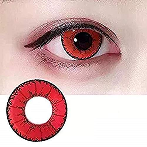 Women Multi-Color Contact Lenses Cosplay Eyes Cute Colored Charm and Attractive Cosmetic Makeup Eye Shadow - Contact For Lenses Red Halloween