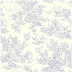 York Wallcoverings AT4229 Ashford Toiles Champagne Toile Prepasted Wallpaper, White/Blue