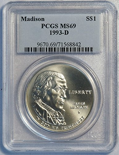 1993 D Madison Commemorative Silver Dollar $1 MS 69 PCGS