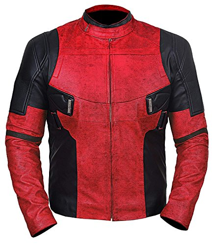 Deadpool Red and Black Motorcycle Leather Jacket for Mens | L