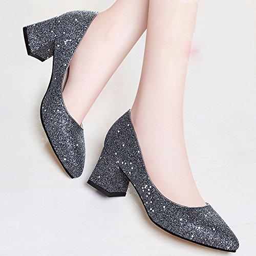 kphy-5cm High Heels mit feinen Schuhe Spring New Design Single Schuhe Spitz Schuhe Braut goldfarben
