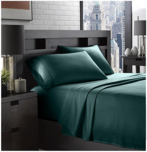 Enchanted Twin Comforter - Ella Jayne Home Braun Collection 100% Cotton Soft Flannel Twin Sized Bed Sheet Set, Hunter Green