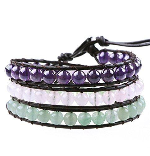 Crystals and Healing Stones Bracelet for Anxiety Depression Stress Amethyst Rose Quartz Aventurine Gemstones (Handmade Beaded Gemstone Jewelry)