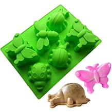 Allforhome 6 Cavities Butterfly dragonfly Silicone Cake Baking Mold Cake Pan Muffin Cups Handmade Soap Moulds Biscuit Chocolate Ice Cube Tray DIY Mold