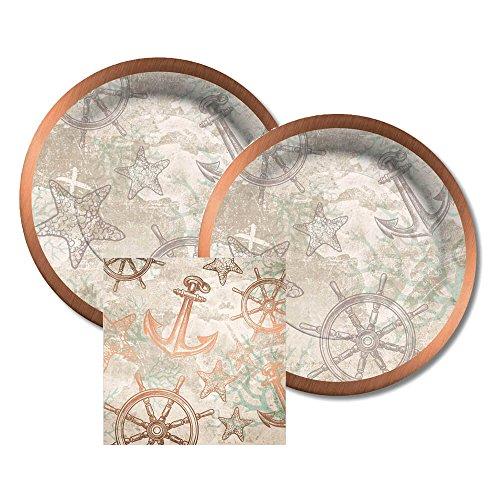 CR Gibson Coastal, Nautical, Copper Foil Paper Dessert Plates and Paper Napkins, 16 Servings, Bundle- 3 Items ()