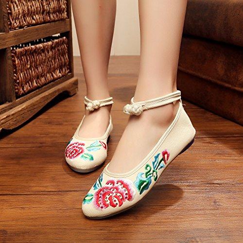 Zapatos tela femenina beige de moda estilo Chnuo tendón casual lenguado bordados de zapatos étnico cómodo dww6zqvoK