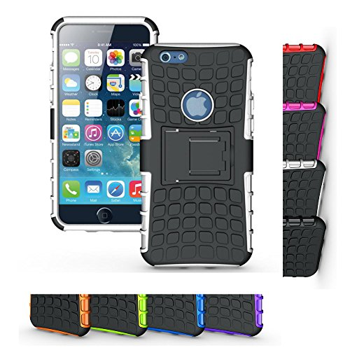 Price comparison product image iPhone 6s/6 Stand Case, HLCT Rugged Non-Slip Dual-Layer Shock Proof Cover with Built in Kickstand for iPhone 6S/6 (White)