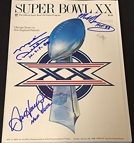 Dan Hampton Mike Singletary and Mike Ditka Chicago Bears Autographed Signed Super Bowl XX ()