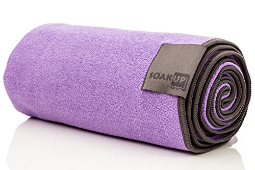 "Long Microfiber Towel By Soak Up. Yoga, Gym, Beach, and Travel. Multipurpose Quick Dry Super Absorbent, Slip Resistant, Anti-Bacterial, Lightweight (Purple, 26""x72"")"