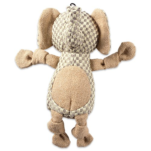 Bone Dry DII Burlap Body Jungle Friends Squeaking Pet Toy, 1 Piece Everett Elephant Plush Toy for Small, Medium and Large (Big Squeak Elephant)