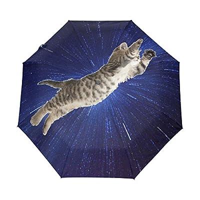Naanle Blue Galaxy Flying Kitten Cat Auto Open Close Foldable Windproof Umbrella