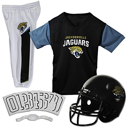 Franklin Sports NFL Jacksonville Jaguars Deluxe Youth Uniform Set, Medium (Jacksonville Helmet Football Jaguars)