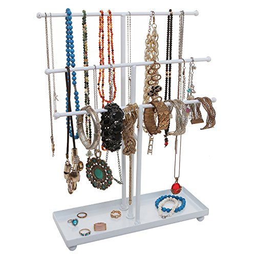 Modern White Metal 3 Tier Tabletop Bracelet & Necklace Jewelry Organizer Display Tree Rack w/Ring Tray ()