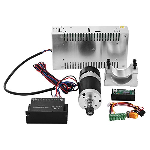 - Mophorn CNC Spindle Motor 0.4kw DC Brushless Spindle Motor with 57mm Clamps and Switching Power Supply and MACH3 Speed Controller
