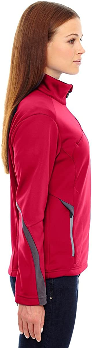 S Ash City Womens Escape Ladies Bonded Fleece Jacket Black w// Black Silk