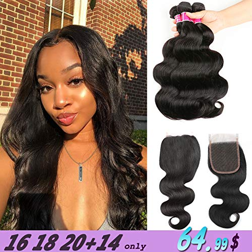 Longjia Hair Brazilian Body Wave Bundles with Closure (16 18 20+14) 8A Brazilian Virgin Human Hair Body Wave Bundles with 4x4 Lace Closure Bundles with Closure
