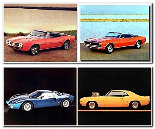 Ford Mustang Vintage Chevy Car Picture 8x10 Four Set Home Wall Decor Art Print Posters (Race Car Pictures)