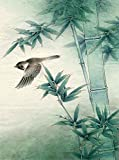 Bird flying by Bamboo. Chinese Painting. Painted by Original Artist. Museum Quality.. Mounted On Scrolls for Hanging. Scroll Size about 24x63IN. Painting Size 18x27IN.
