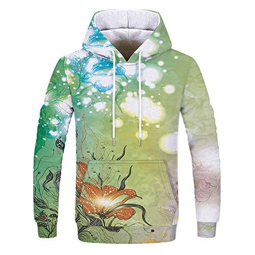 Sunhusing Romantic Couple Fall Winter Bright Fresh Elements Print Long Sleeve Sweatshirt Hoodies ()