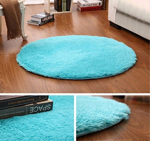 OMG_Shop Room Rug Shaggy Rugs Round Yoga Mat/Kids Rug/Beach Rug/Living Room Rug Diameter 40cm/15.7inch Blue by OMG_Shop (Image #7)