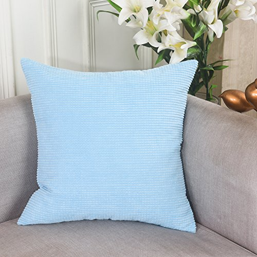 Home Brilliant Easter Decorations Solid Supersoft Corduroy Handmade Decorative Velvet Throw Pillow Cushion Cover With Zipper for Bed, Spa Blue, 18