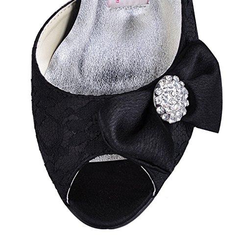 Kevin Fashion Ladies mz570Peep Toe alto talón con lazo de encaje novia boda zapatos sandalias negro
