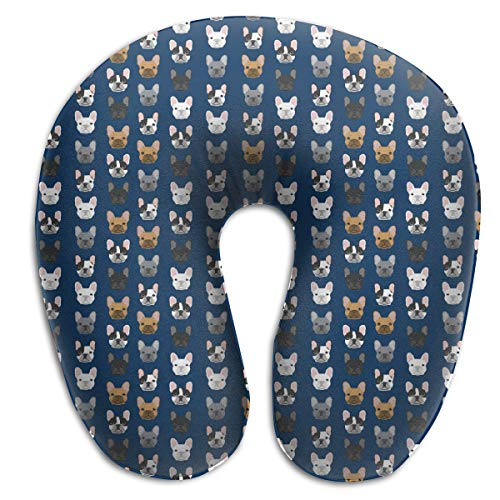 FANTASY SPACE Neck Pillow Travel Pillow French Bulldog Navy Blue Compact Pillow Supports The Head U Shape Pillow, Breathable & Comfortable, Car Airplane Office Neck Pillow