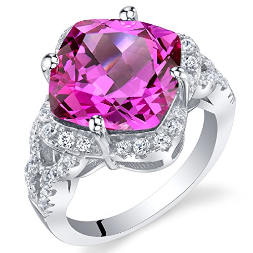 (7.50 Carat Created Pink Sapphire Sterling Silver Cushion Halo Ring Size 7)