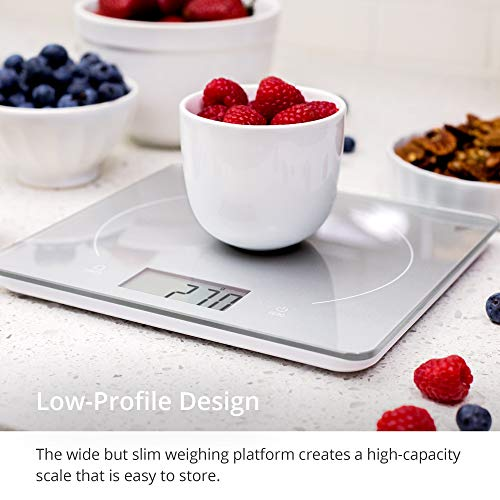 GreaterGoods Classic Digital Kitchen & Food Scale, Weight Grams and Oz for Baking and Cooking (Silver Glass)