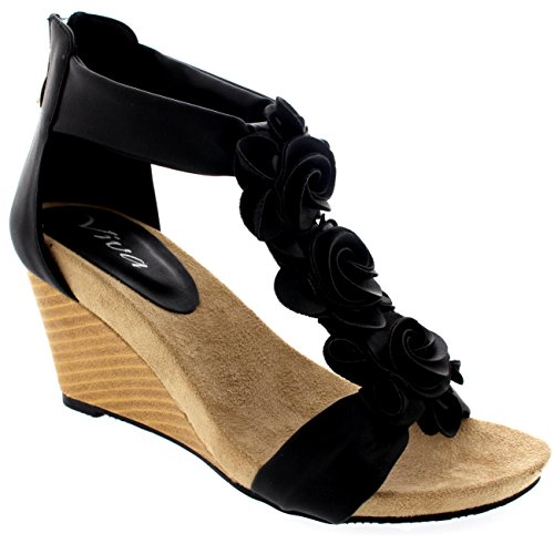 Womens Zipper Wedge Pumps Open Toe Summer Casual Ankle Strap Sandals - Black - 7 - 38 - CD0223E