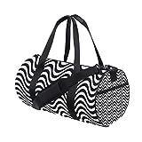 Barrel Duffel Bag Wave Black White Zigzag Sports Gym Travel Bag