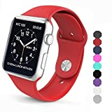 Sxciw Apple Watch Band, Soft Silicone Sports Replacement Wristband for Apple Watch (Red, 38mm-M/L)