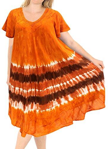 Tie Dye Batik - LA LEELA Rayon Tie Dye Cruise Length Knee Halter Top Brown 553 Plus Size
